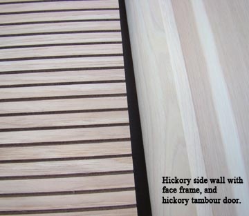 Omega-National close up of hickory tambour door and side wall