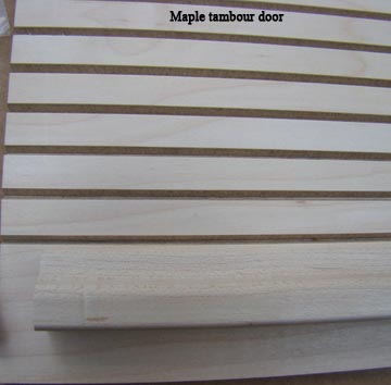 maple tambour door close up