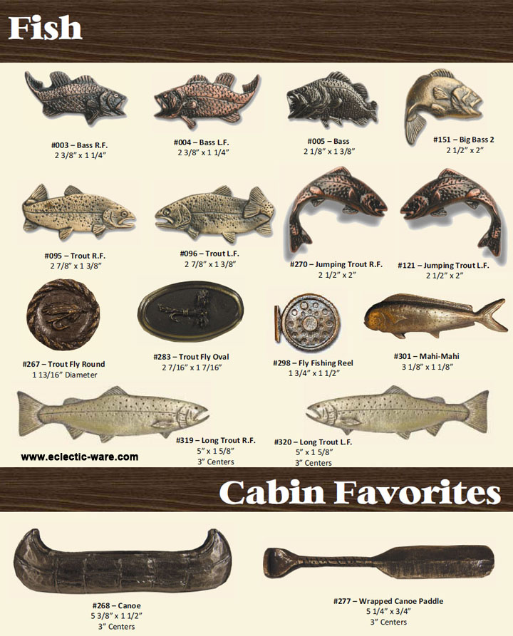 Fish Drawer Pulls - Canoe Paddle Handles | Eclectic-ware
