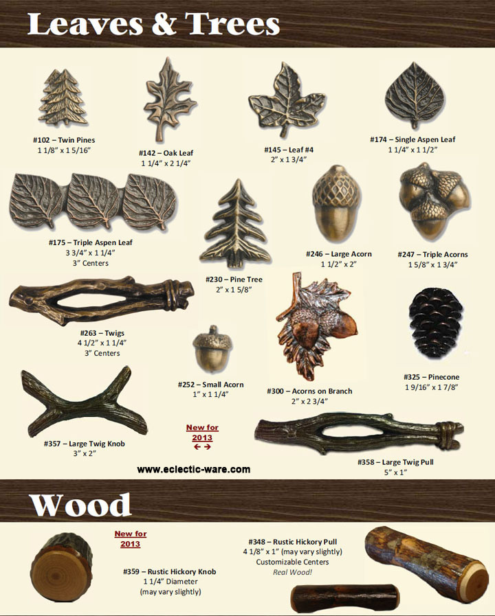 Leaves Acorn Log And Tree Branch Door Pulls Eclectic Ware