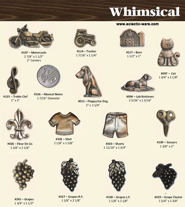 BuckSnort Whimsical Collection   Dog And Cat Knobs, Grapes, Motorcycles,  And Even A