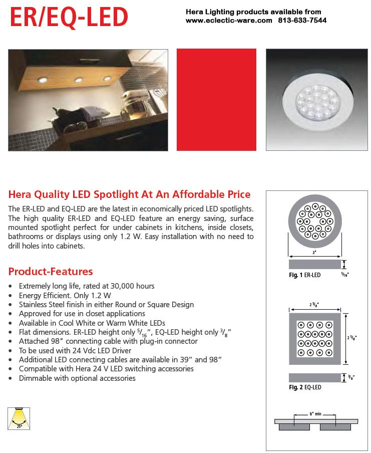 Hera Lighting ER/EQ-LED round and square ambient LED spotlights