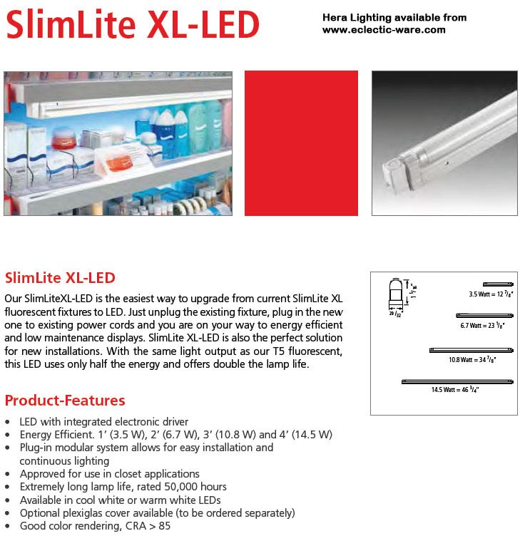 Hera Lighting SlimLite XL-LED  sc 1 st  Eclectic-ware & Hera SlimLite XL-LED Tubular LED Lights   Eclectic-ware azcodes.com