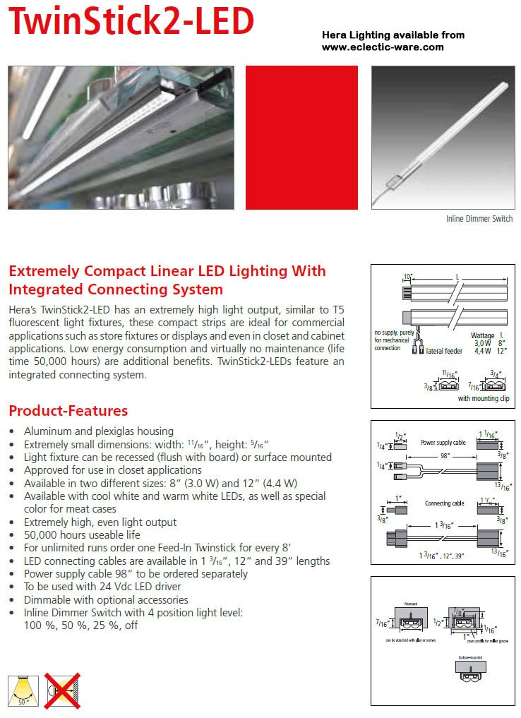 Hera Lighting TwinStick2-LED linear LED light fixtures