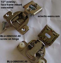 cabinet hinge selections - select this link to see our choices