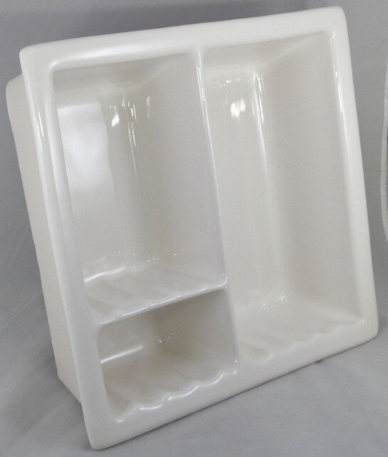 Ceramic recessed shower caddy from AC Products