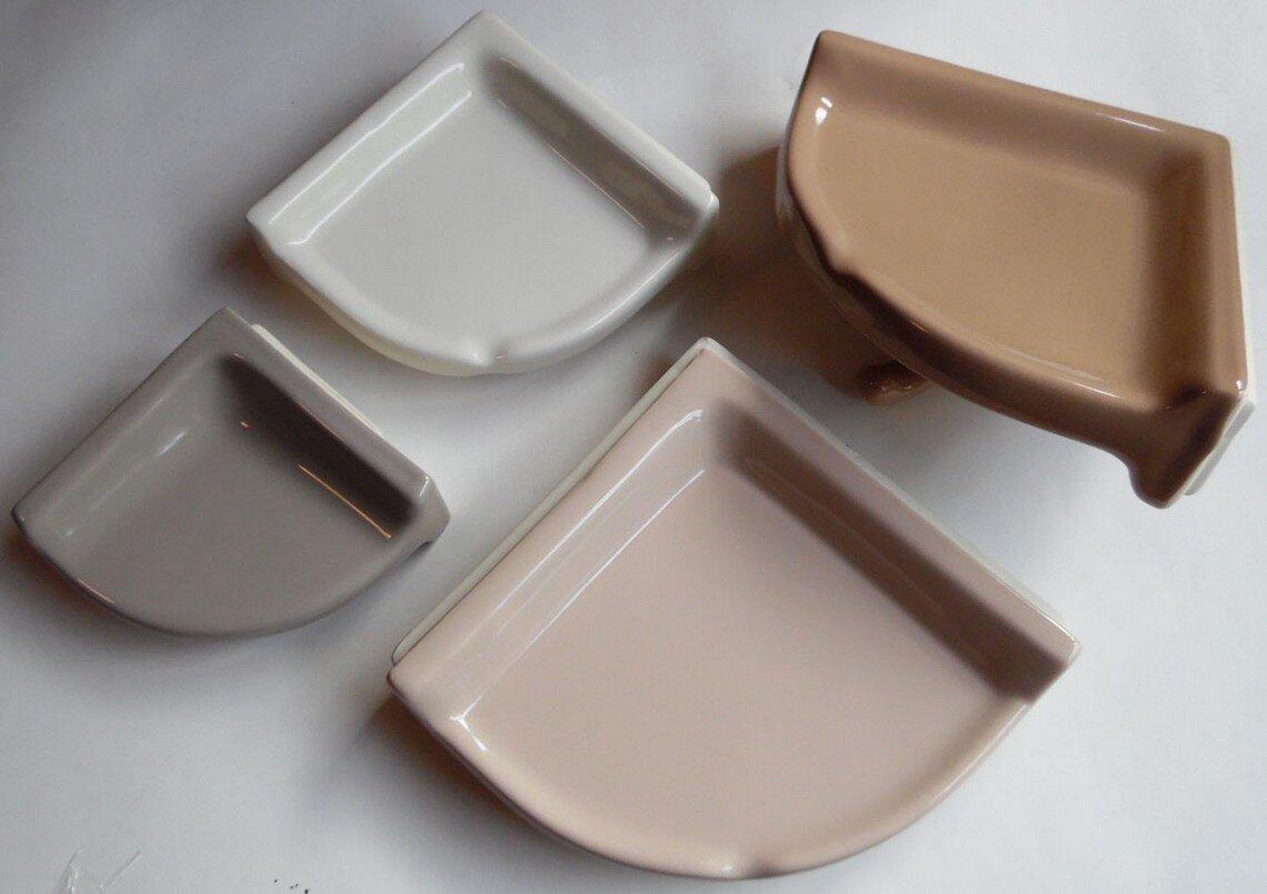"Ceramic *Glossy White* Small Corner Bath-Shower Soap Dish-Tray-Shelf  6/""  NEW"