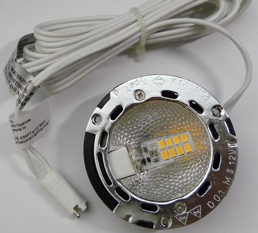 Hera E1 halogen light with G4 LED bulb inside it