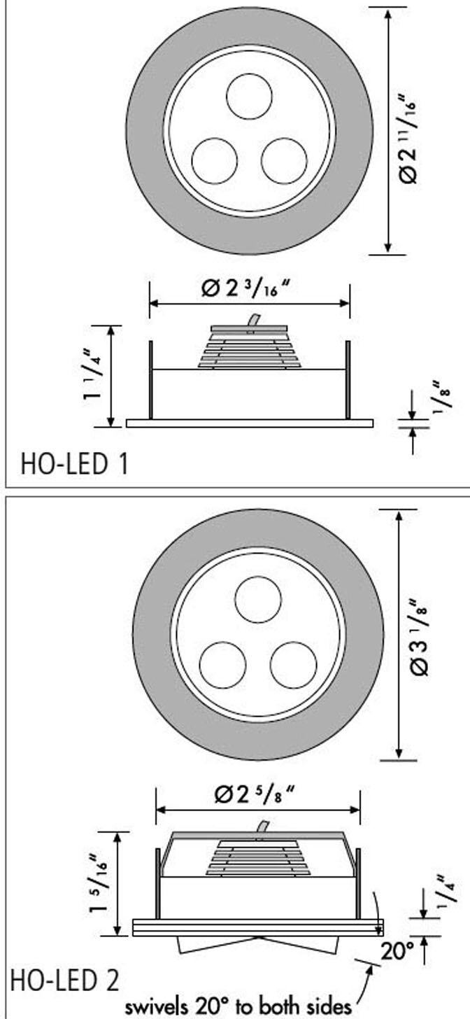 Hera HO-LED light measurements and mounting specs