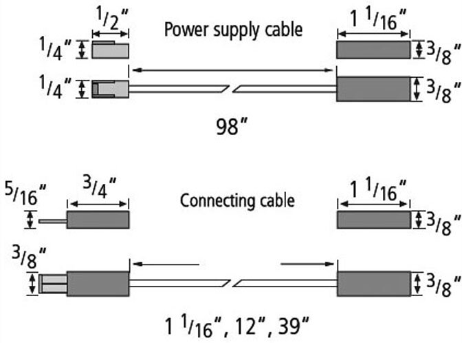 Hera Stick2-LED specification diagram showing power cable connection