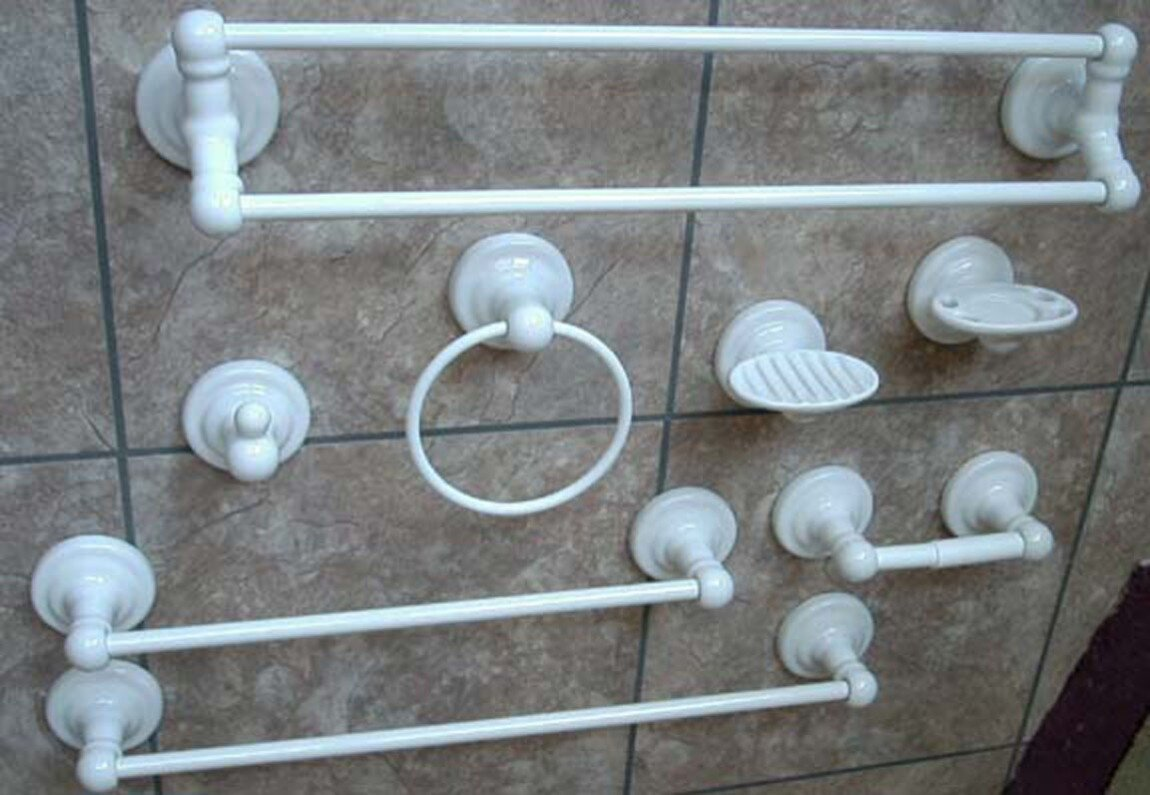 Lenape Meridian collection of white porcelain bathroom hardware